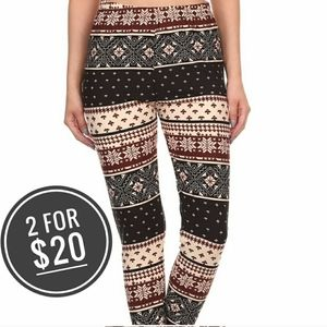 NEW WINTER FLAKES ONE SIZE LEGGINGS FITS S M L